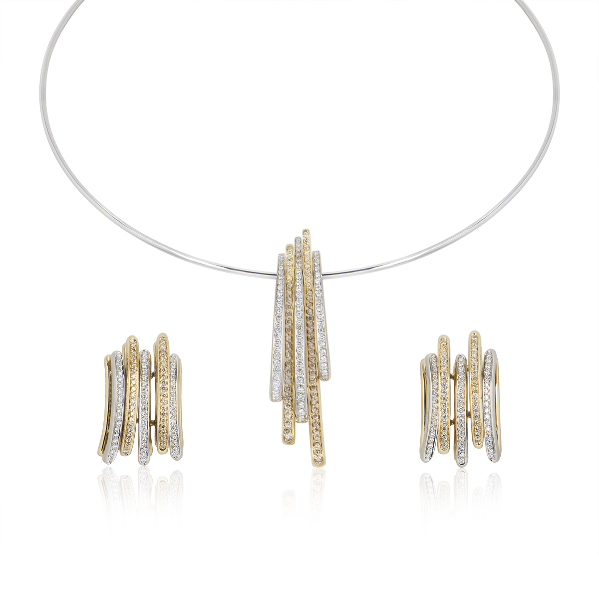 18k Two Colour Gold Diamond Necklace and Earring Suite